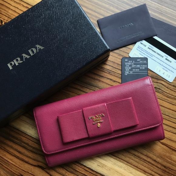 1c93197e5fa6 ... shopping authentic prada saffiano fiocco bow ribbon wallet f2bff bc20b